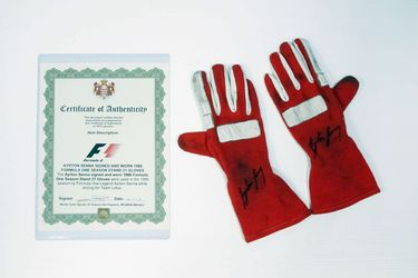 1986 Ayrton Senna Worn & Signed Stand 21 Gloves (1986 F1 Season)