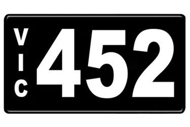 Number Plates - Victorian Numerical Number Plates '452'
