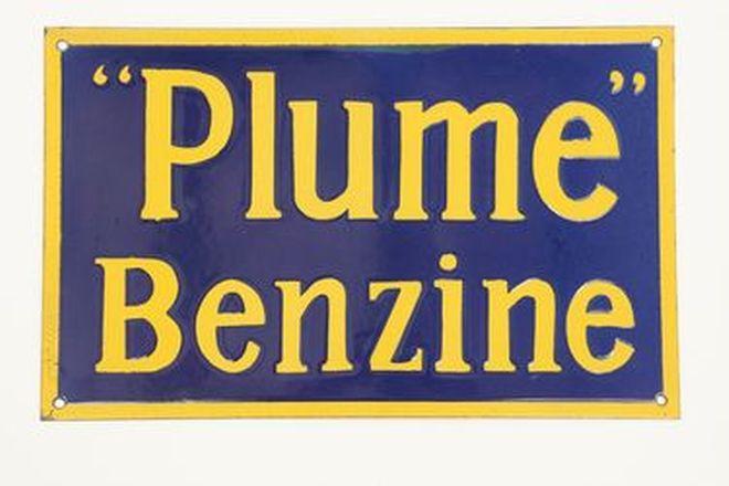 Enamel Sign - Plume Benzine (53cm x 33cm)