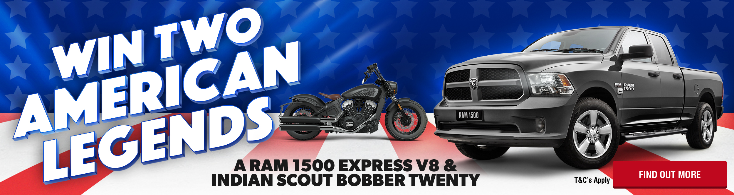 Shannons RAM 1500 Express V8 and Indian Scout Bobber Twenty Competition.