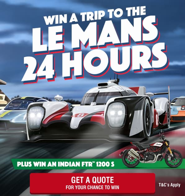 Win a Trip to the Le Mans 24 Hours. Plus win an Indian FTR 1200 S Motorcycle